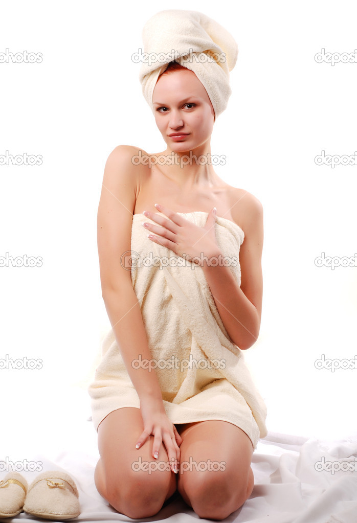 Portrait of beautiful woman in white towels  Stock Photo #1755357