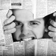 Stock Photo: Throw newspaper black