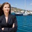 Woman and moorage with boats — Stock Photo #1765242