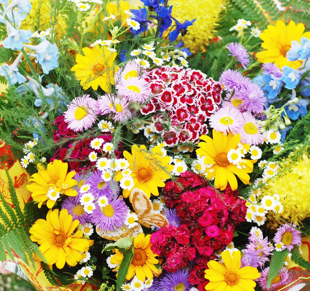 An enormous bouquet from varicoloured colors filling all shot — Stock Photo #1763634