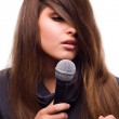 Woman with microphone — Stock Photo #1823691