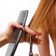 Woman with scissors and comb — Stock Photo
