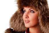 Woman in fur cap — Stock Photo