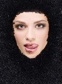 Black caviar and woman — Stock Photo