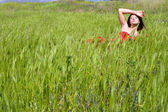 Woman and nature — Stock Photo