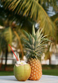 Coconut and pineapple — Stock Photo