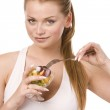Woman with salad bowl — Stock Photo