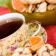 Cup of tea and cookies — Stock Photo