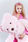 Girl with a teddy-bear — Stock Photo
