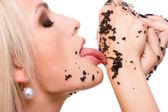 Woman eat black caviar — Stock Photo