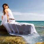 Woman and sea beach — Stock Photo #2344206