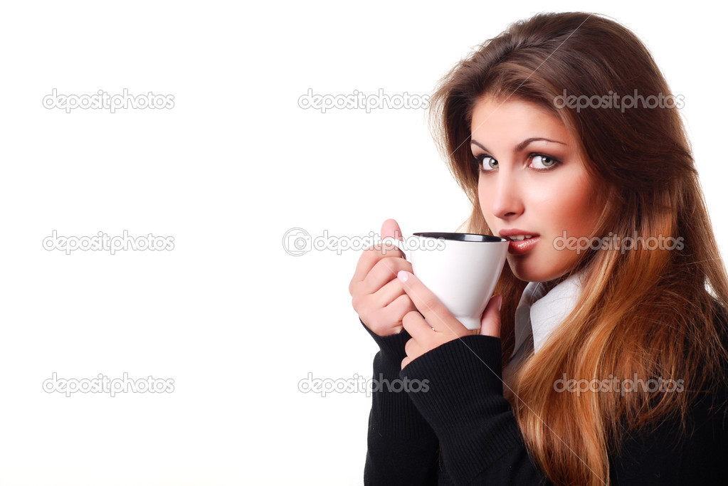 Portrait of beautiful young woman with cup of coffee   Stock Photo #2398974