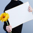 Stock Photo: Mtakes placard and flower