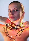 Woman with garland — Stock Photo