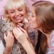 Two women with cat — Stock Photo