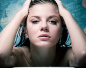 Crying woman in bath — Stock Photo