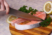 Fresh slice of salmon — Stock Photo