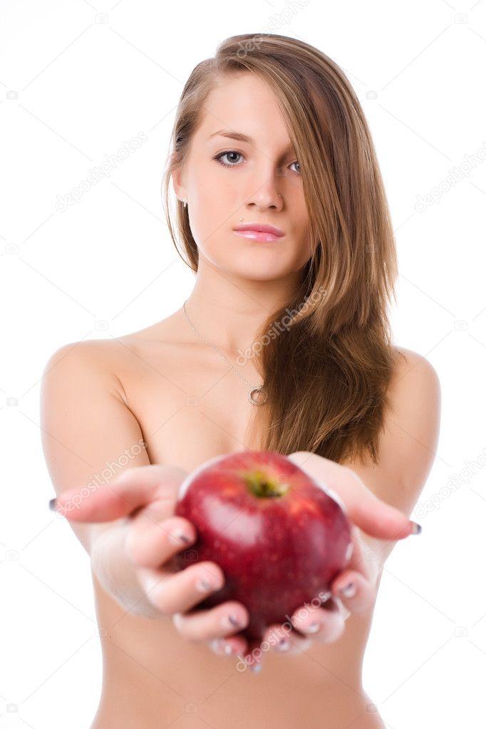 Обнаженная Женщина С Яблоками