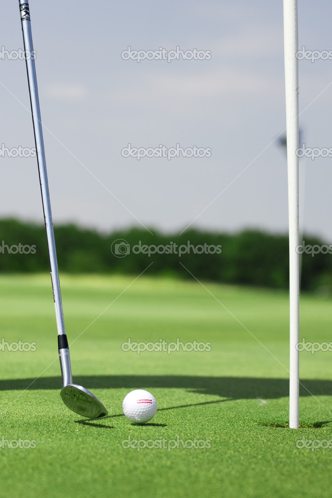 Pictire of golf landscape with golfball and club — Stock Photo #2498767