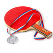 Red racket tennis and a silver medal — Stock Photo