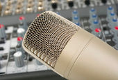 Studio microphone on the audio control c — Stock Photo