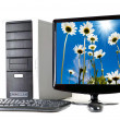 computer with flat screen isolated on wh — Stock Photo