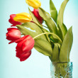 Red and yellow tulips in vase on blue ba — Stock Photo