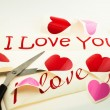 Heart and inscription I love you — Stock Photo