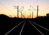 Sundown and railway — Stock Photo