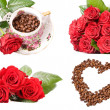 Coffee and roses - Stock Photo