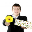 A boy with a gift — Stock Photo