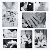 Collage of wedding photos — Stockfoto