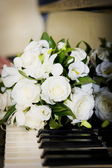 White flowers on piano keys — 图库照片