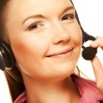 Friendly secretary/telephone operator — Stock Photo