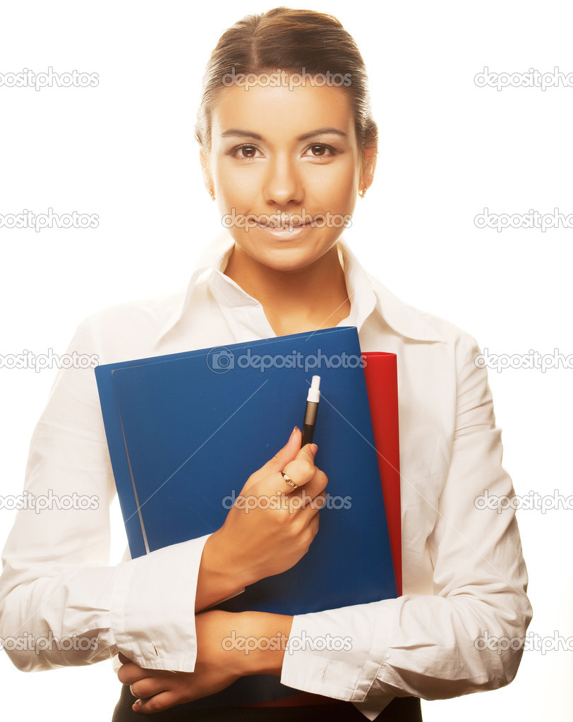 Young business woman holding empty white board  — Stock Photo #1806392