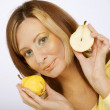 Woman with pear — Stock Photo
