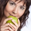 Woman with  green apple — Stok fotoğraf