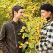 Loving couple in an autumnal park - Stock Photo