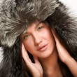 Stock Photo: Model in sexy winter hat