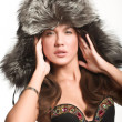 Model in sexy winter hat - Stock Photo