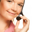 Friendly secretary/telephone operator — Stock Photo