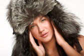 Model in sexy winter hat — Stock Photo