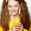 Girl Drinking Orange Juice - Stock Photo