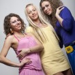 Young fashion models in colorful dress - Stock Photo