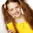 Girl Drinking Orange Juice — Stock Photo #1861208