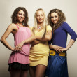 Young fashion models in colorful dress — Stock Photo