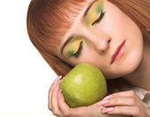 Beautiful woman with apple — Stock Photo