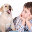 Child and puppy — Stock Photo