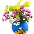 Stock Photo: Autumn flowers in blue vase