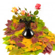 Stock Photo: Autumn roses black vase